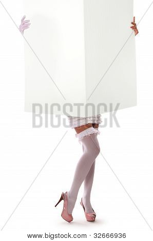 Girl Holding A Large Sheet Of Paper