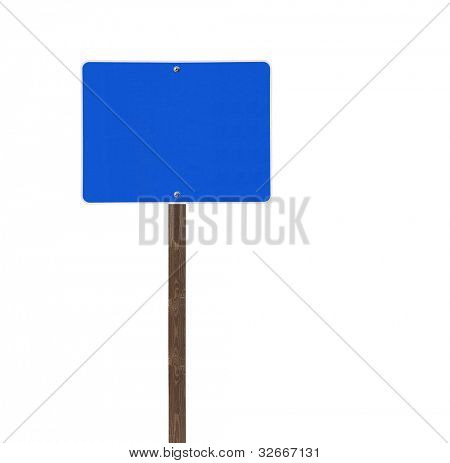 Tall isolated blue road sign on a wooden post.
