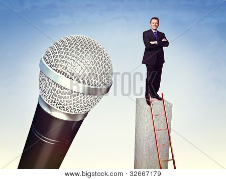 confident man and huge 3d microphone