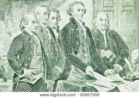 Makro von uns zwei-Dollar-Schein. Jefferson, Franklin, Adams und andere Kolonisten, die Präsentation der declarat