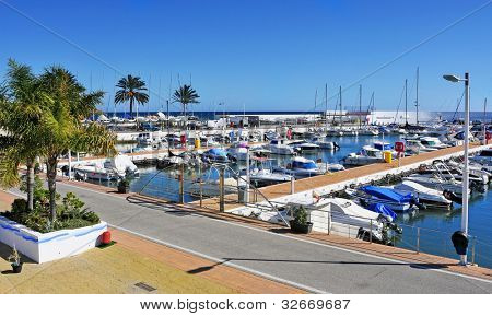 MARBELLA, SPAIN - MARCH 13: A view of Puerto Deportivo de Marbella on March 13, 2012 in Marbella, Spain. This marina has berths for 377 boats