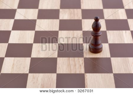 Single Pawn On Chessboard  Angled View
