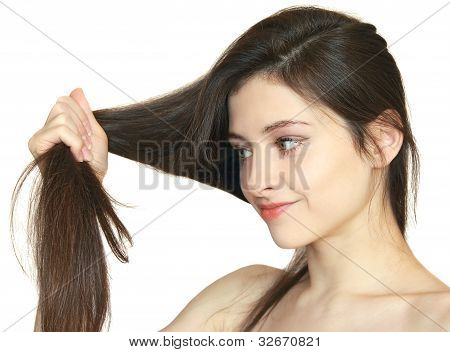 Woman Holding Damaged Hair The Hand And Looking