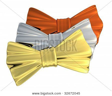 Bowtie Gold, Silver and Bronze, isolated