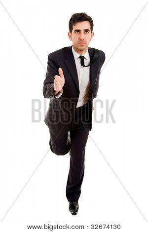 business man running on white background