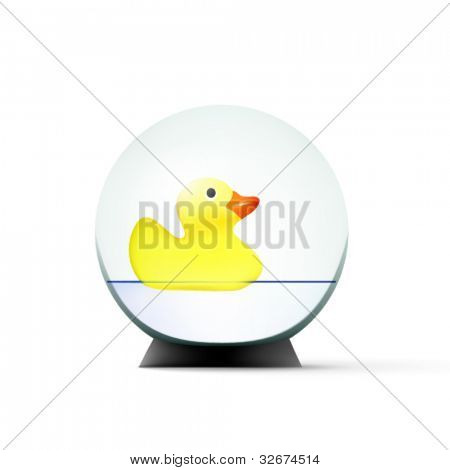 vector toy duck swimming in a glass sphere
