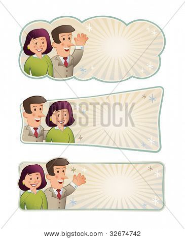 Retro Vintage Labels with area to insert your own message. Editable vector images