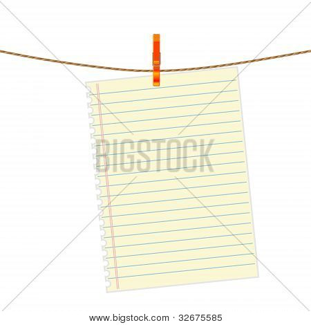 Paper note at the rope with clothes pin