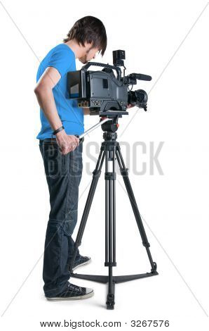 Cameraman, Isolated On White Background