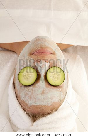 Woman Cucumber Eyes From Above