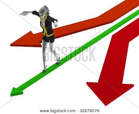 3d people woman walking on a green arrow