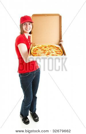 Teenage girl or young adult has a job delivering pizza.  Full body isolated on white.