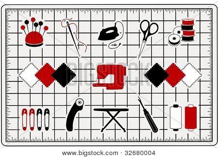 Quilting, Patchwork, Nähen Icons auf Cut-mat