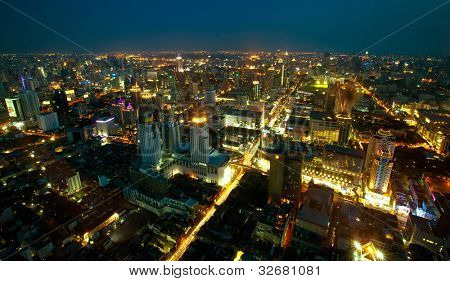 Panoramic view of Bangkok top at night time, Thailand