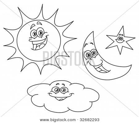 Outlined sun moon star and cloud set
