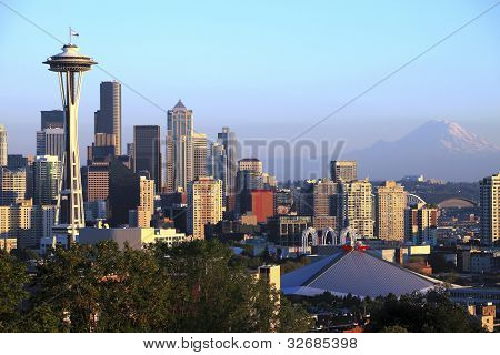 Seattle Skyline sunset light, Washington State.