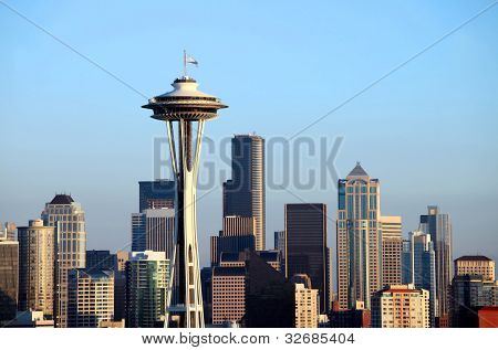 Seattle Skyline at Sunset, Washington State.