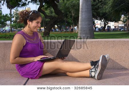 Peruvian Woman with Laptop