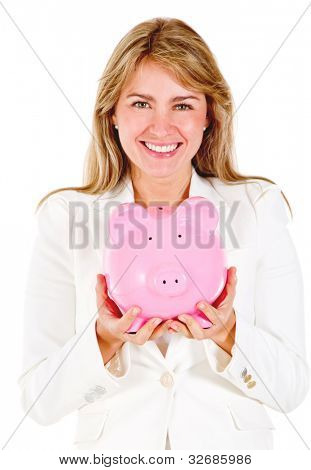 Business woman saving in a piggybank - isolated over a white background