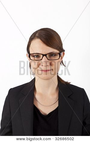 Business Woman Smiling And Looking Serious