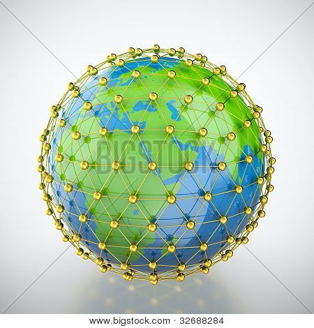 Earth in golden cage
