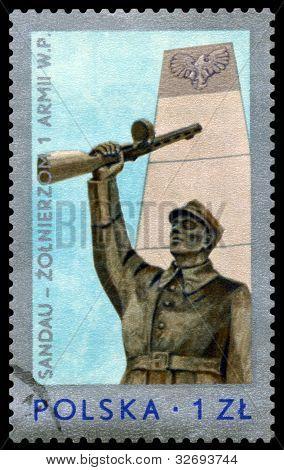 Vintage  Postage Stamp.  Monument Soldier.
