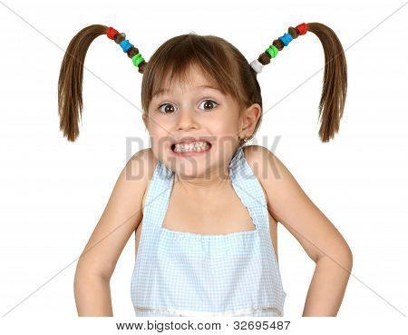 Portrait Of Funny Shoked Child Girl With Long Tails On White
