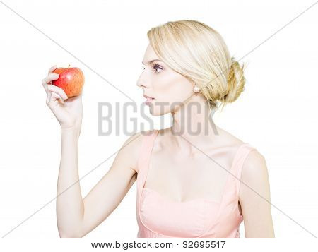 Thin Undernourished Woman Holding An Apple