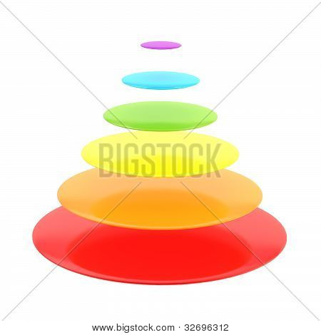 Six layer cone pyramid isolated
