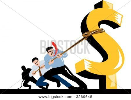 Men Pulling Down The Dollar