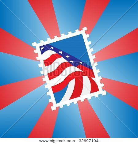 Postage stamp with the American flag