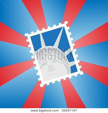 Postage stamp with the Statue of Liberty