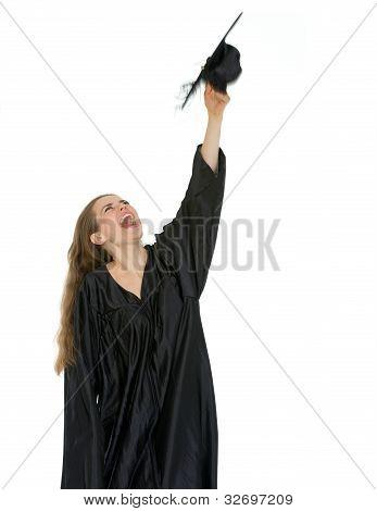 Happy Graduation Student Throwing Up Cap