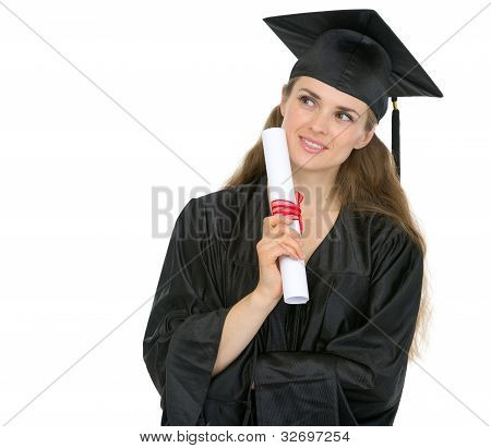 Thoughtful Graduation Woman With Diploma Looking On Copy Space