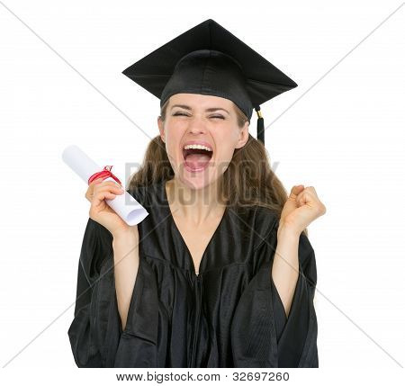 Excited Graduation Student Girl With Diploma