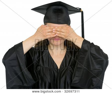 Graduation Student Girl Making See No Evil Gesture