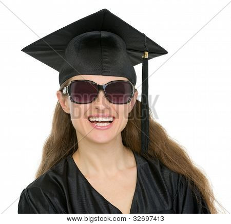 Portrait Of Happy Graduation Student Girl With Sunglasses