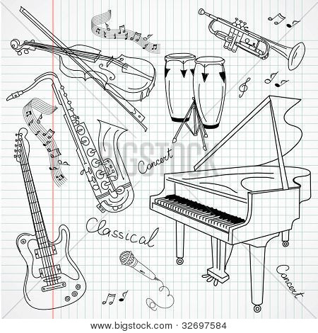 Set of Music Instruments, hand drawn in vector