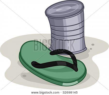 Ilustración de una zapatilla y un se puede utilizada en un juego