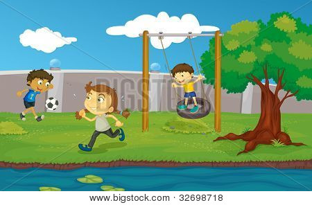 Kids playing in the park - EPS VECTOR format also available in my portfolio.