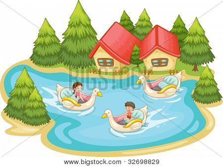 Kids playing in the lake - EPS VECTOR format also available in my portfolio.