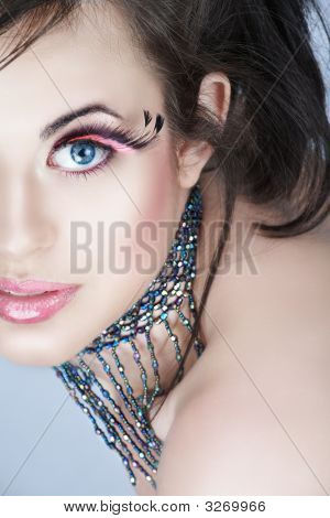 Beauty With Pink Eyelashes