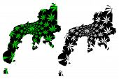 Zamboanga Peninsula Region (regions And Provinces Of The Philippines) Map Is Designed Cannabis Leaf  poster