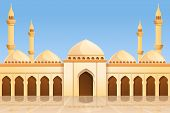 Mosque Temple Concept Background. Cartoon Illustration Of Mosque Temple Vector Concept Background Fo poster
