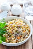 Russian Traditional Salad Olivier With Vegetables And Meat. Winter Saladhomemade Salad Olivier With  poster