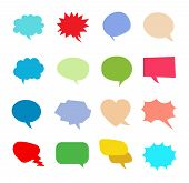 Multicolored Variety Of Empty Speech Bubbles. Comics Book Dialog Empty Cloud. Vector Flat Style Cart poster