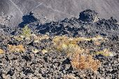 Landscape View Of An Old Lava Flow With The Sides Of The Lava Butte Cinder Cone Riising Up Behind It poster