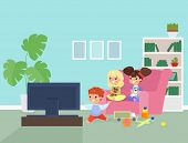 Children Watching Tv Flat Vector Illustration. Cute Kids Sitting On Sofa Cartoon Characters. Smiling poster