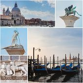 Collage Of Landmarks In Venice. View Of Saint Mary Of Health Basilica, Gondols On The Grand Canal, S poster