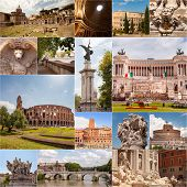 Collage Of Famous Landmarks In Rome, Italy poster